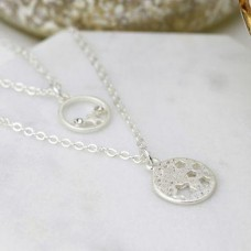 Silver plated double layer star disc necklace