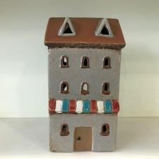 Ceramic t-light House Striped Canopy
