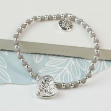 Silver Plated Crinkle Heart And Grey Bead Bracelet