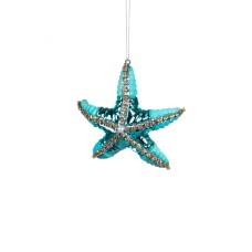 Glass Turquoise Starfish hanging Dec