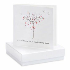 Friendship Tree Silver Heart Boxed Earrings