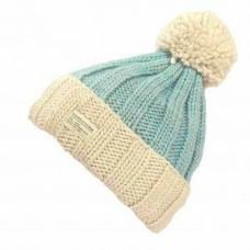 KUSAN Bobble Hat With Turn Up Cream Aqua