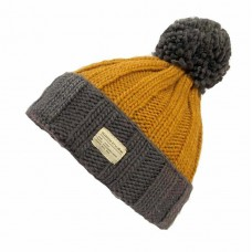 KUSAN Bobble Hat With Turn Up Charcoal Caramel
