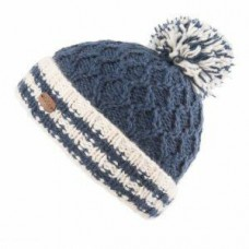 KUSAN Cable Bobble Hat With Turn Up Navy