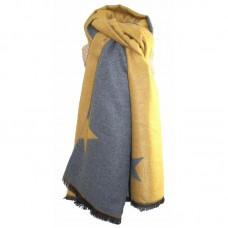 Thick Scarf Mustard/Grey Reversible with Stars