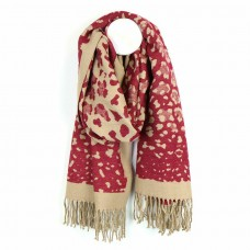 Luxury soft red and camel animal print scarf