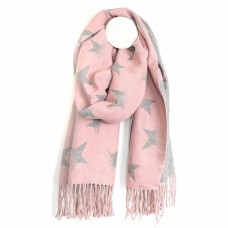 Reversible pink and grey star scarf