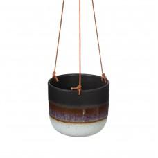 Mojave Glaze Black Hanging Planter