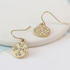 Gold Plated Worn Finish Crystal Inset Earrings