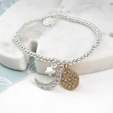 Silver Plated Moon Star and Planet Bracelet