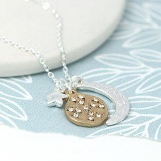 Silver Plated Moon Stars and Planet Necklace