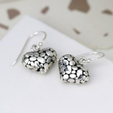 Sterling Silver Pebble Heart Drop Earrings