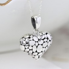 Sterling Silver Pebble Heart Necklace
