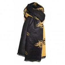 Thick Bees Scarf Black/Mustard