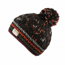 KUSAN Uneven Yarn Bobble Hat Black Orange