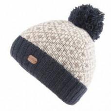 Bobble Hat with Turn Up Navy Grey