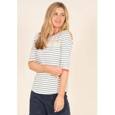 BRAKEBURN Stripe 3/4 Sleeve Tee Multi  RRP £29.95