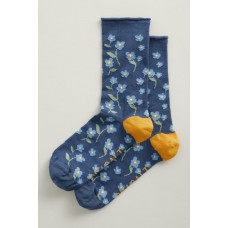 SEASALT  Bamboo Arty Socks Forget-Me-Not Wild Pansy
