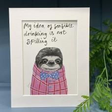 Animal Art Sensible Drinking Kelvin the Sloth