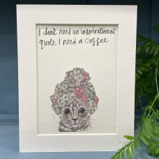 Animal Art Inspirational Quote Kevin Cat