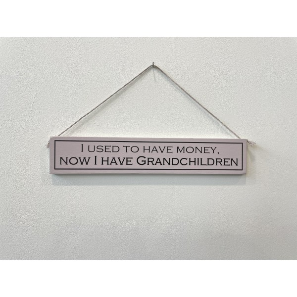 Wooden sign I Used to have Money Now I have Grandchildren