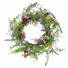 Faux Meadow Flowers Wreath