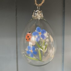 Forget me Knot Glass Egg Decoration