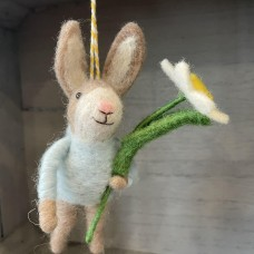 Wool Bunny with Jumper and Daffodil