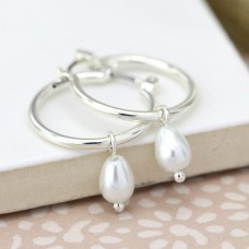 Silver Plated Hoop and Pearl Drop Earrings