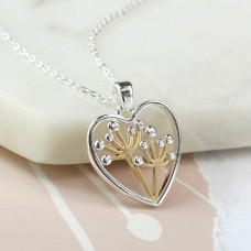 Silver Plated Heart Necklace With Floral Centre
