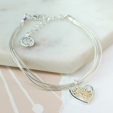 Silver Plated Heart Bracelet With Floral Centre