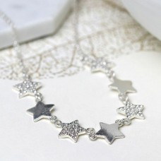 Worn Silver Multi Star Necklace With Crystals
