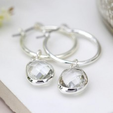 Silver Plated Hoop Earrings With Oval Clear Crystal Drops
