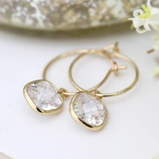 Gold Plated Hoop Earrings with CZ Square Crystal Drops