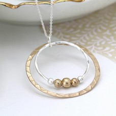 Silver And Gold Plated Hoops And Beads Necklace