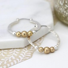 Silver Plated Hoop And Golden Bead Earrings