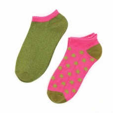 Bamboo Trainer Socks Twin Pack With Stars Green And Pink