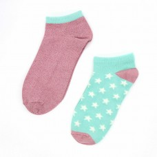 Bamboo Trainer Socks Twin pack With Stars Pink And Mint
