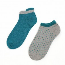 Bamboo Trainer Socks Twin Pack With Dots Teal And Grey