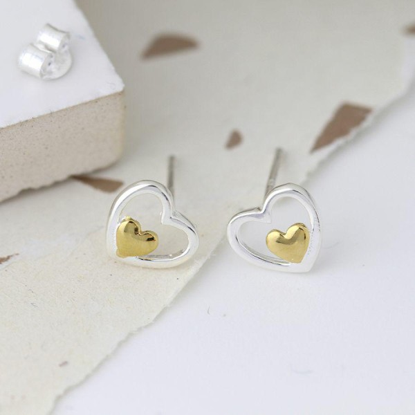 Stirling Silver And Gold Double Heart Earrings