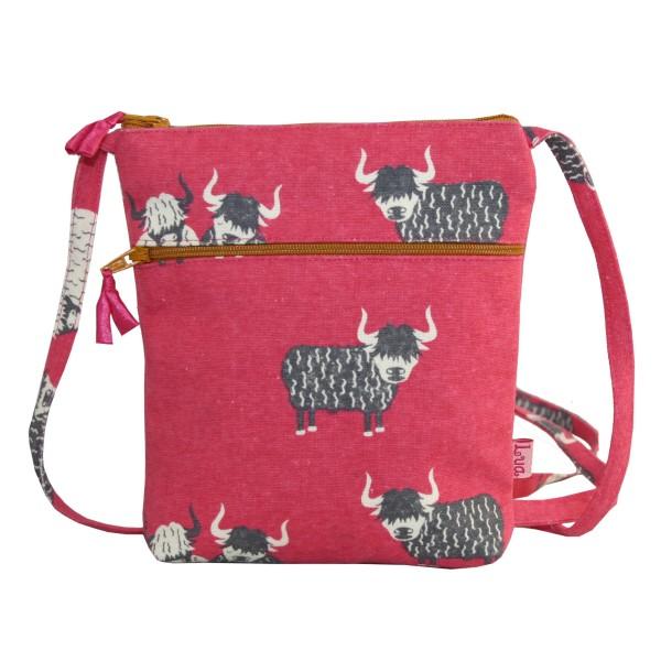 Lua Cross Body Bag Highland Cow Pink