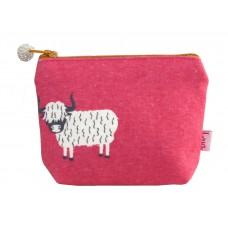 Lua Mini Zipped Purse Highland Cow Pink