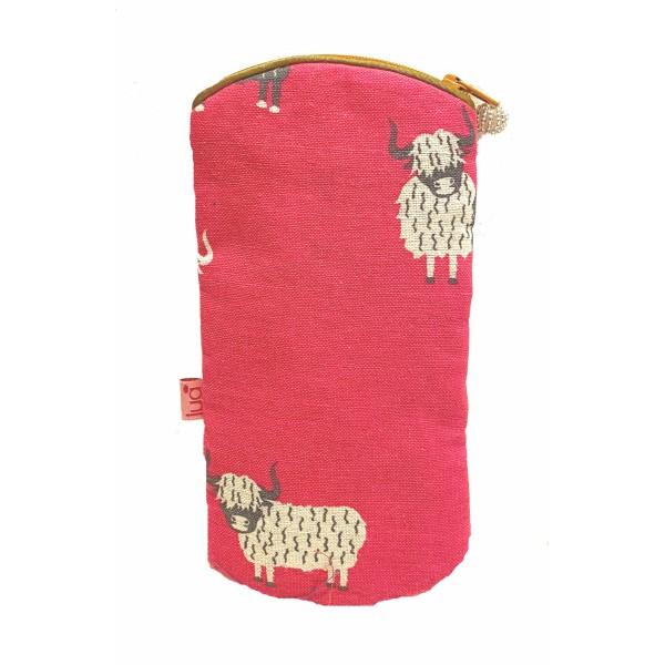Lua Zipped Glasses Purse Highland Cow Pink