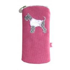 Lua Zipped Glasses Purse Schnauzer Dog Pink