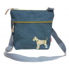 Lua Cross Body Handbag Schnauzer Dog Teal