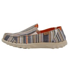 HEY DUDE FARTY CHAMBRAY STRIPES ORANGE UK RRP £44.95