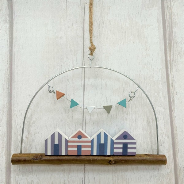 Gisela Graham Hanging Beach Huts Decoration