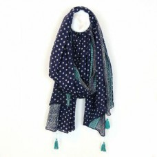 Cotton Scarf Navy Print Border and Tassels