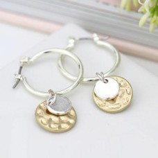 Silver Plated Hoop Hammered Disc Earrings