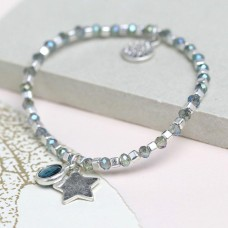 Blue Cystal and Silver Bead Bracelet with Star